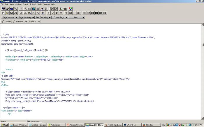 A typical PHP Coding Extract